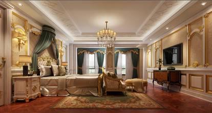 豪华型140平米别墅英伦风格卧室设计图