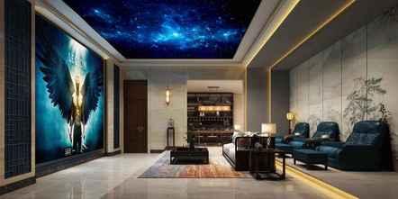豪华型140平米别墅中式风格影音室图