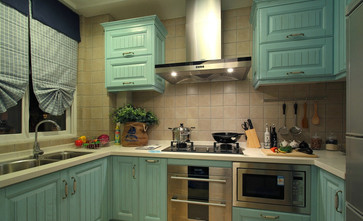 富裕型110平米三室两厅地中海风格厨房图