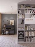 5-10万50平米一室一厅北欧风格书房图
