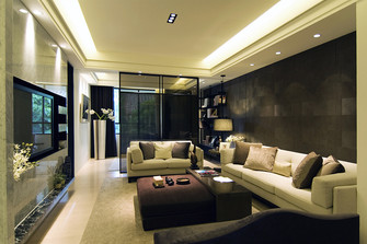 20万以上120平米三室两厅轻奢风格客厅图