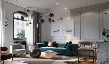 富裕型120平米三美式风格客厅图片大全