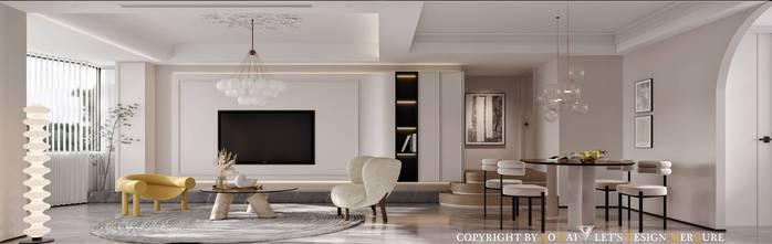 三室两厅法式风格客厅装修案例