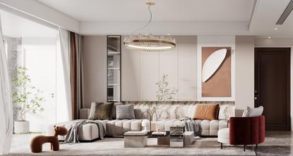 100平米四室两厅现代简约风格客厅欣赏图