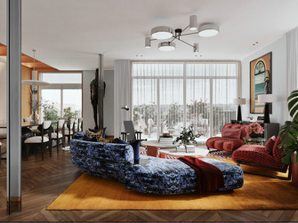 豪华型120平米三英伦风格客厅装修图片大全