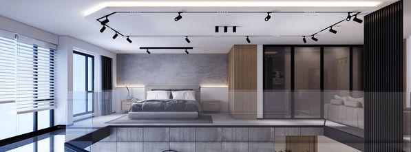 20万以上90平米四工业风风格卧室设计图