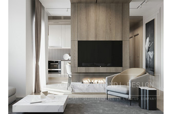 70平米一居室现代简约风格客厅图片