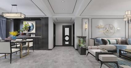 富裕型100平米三室两厅中式风格走廊图片大全