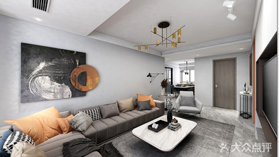 110平米三室一厅混搭风格客厅图片