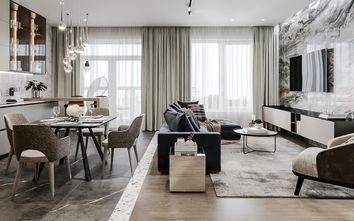 豪华型130平米三室一厅轻奢风格客厅图
