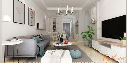 120平米三室两厅地中海风格客厅装修图片大全