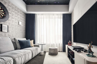 富裕型140平米三室两厅现代简约风格影音室装修效果图