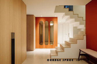 豪华型140平米三室两厅混搭风格楼梯间图片