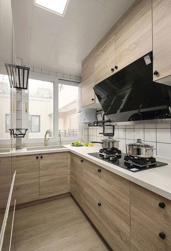 富裕型90平米三室一厅日式风格厨房装修图片大全