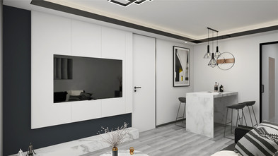 富裕型60平米一居室现代简约风格客厅图片