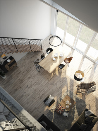 140平米复式工业风风格客厅效果图