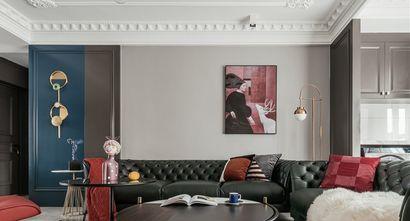 富裕型110平米三室一厅轻奢风格客厅图片