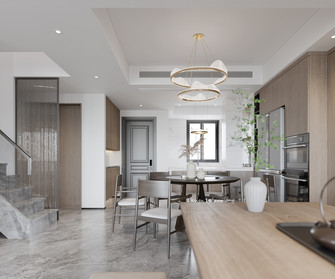 富裕型110平米复式现代简约风格餐厅装修图片大全