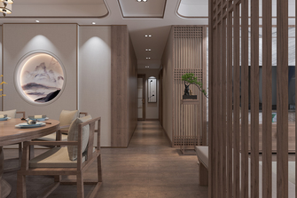经济型120平米三室两厅中式风格走廊装修案例