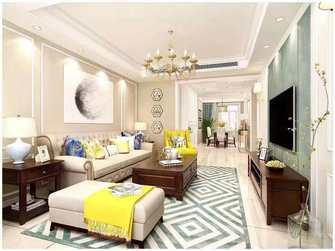富裕型100平米三室一厅美式风格客厅图