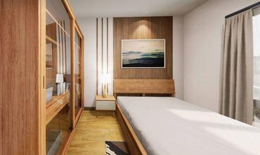 50平米一居室日式风格卧室图