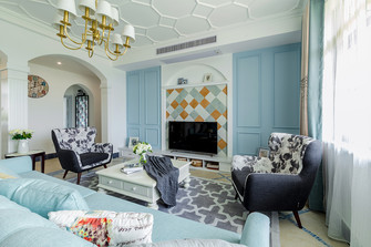 110平米三美式风格客厅装修图片大全