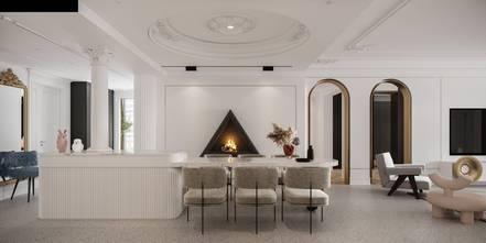 5-10万110平米三室两厅法式风格餐厅图片