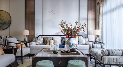 豪华型100平米三室一厅中式风格客厅图片大全