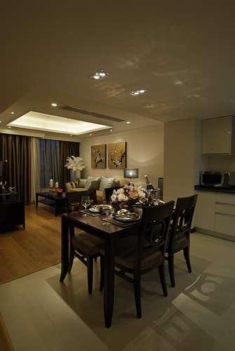 120平米三室一厅混搭风格餐厅设计图