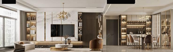 140平米轻奢风格客厅图片