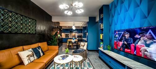 50平米混搭风格客厅欣赏图