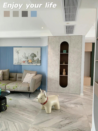 富裕型90平米现代简约风格客厅装修案例