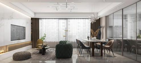 130平米一居室轻奢风格客厅欣赏图