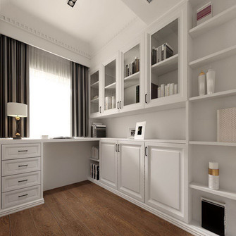 豪华型110平米三室两厅美式风格书房欣赏图