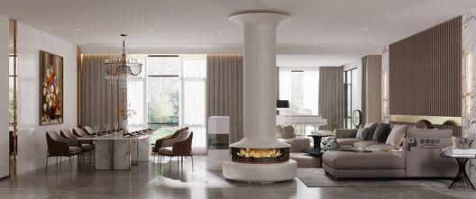 140平米别墅现代简约风格客厅设计图