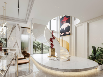 豪华型140平米别墅现代简约风格楼梯间图片大全