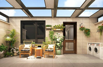 20万以上140平米三室一厅欧式风格阳台图片