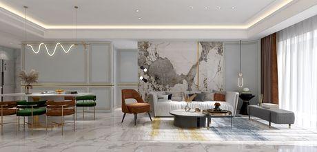 15-20万130平米三室两厅轻奢风格客厅装修图片大全