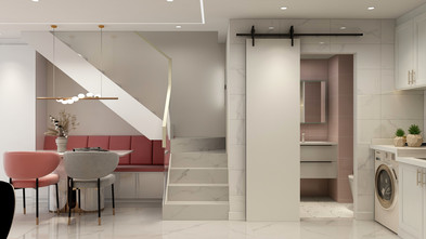经济型30平米超小户型现代简约风格餐厅图