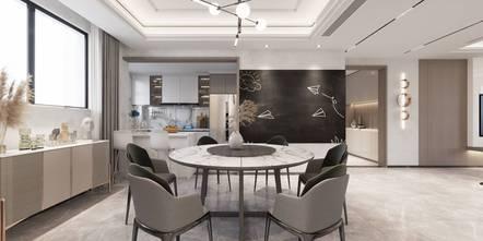20万以上140平米三室三厅现代简约风格餐厅欣赏图
