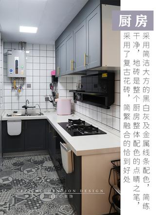 富裕型90平米三室一厅美式风格厨房装修效果图