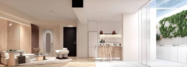 80平米混搭风格客厅装修效果图