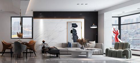 富裕型140平米别墅现代简约风格客厅图片大全