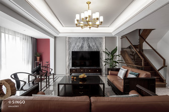 20万以上140平米别墅中式风格客厅设计图