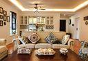 富裕型120平米四室两厅田园风格客厅图片大全