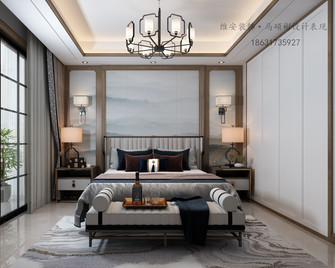 富裕型140平米三室三厅中式风格卧室图