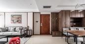 富裕型130平米三室两厅中式风格走廊设计图