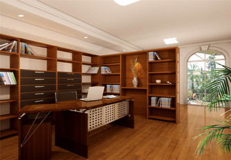 130平米三室一厅欧式风格书房欣赏图