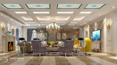 140平米法式风格客厅装修效果图
