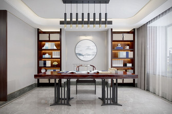 富裕型140平米复式中式风格书房装修案例
